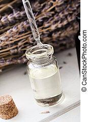 olaj, pipetta, fiola, fűszernövény, csöpögő, levendula, pohár, háttér, menstruáció