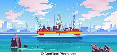 olaj platform, ruha, pumpa, fúrótorony, semisubmersible