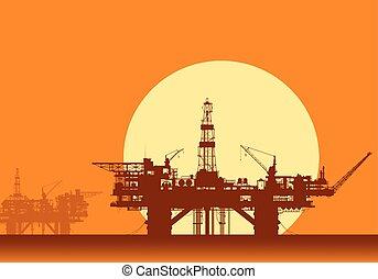 olaj, platforms., fúrás, tenger, rigs., part felől