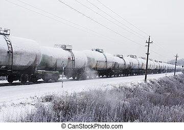 olaj, szállítás, kiképez, tartály, fűtőanyag, vasút, moving.