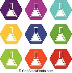 olaj, szín, cső, állhatatos, teszt, hexahedron, ikon