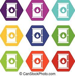 olaj, szín, hexahedron, állhatatos, puskacső, ikon