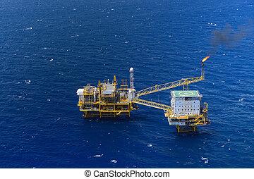 olaj, tető, emelvény, ruha, part felől, kilátás