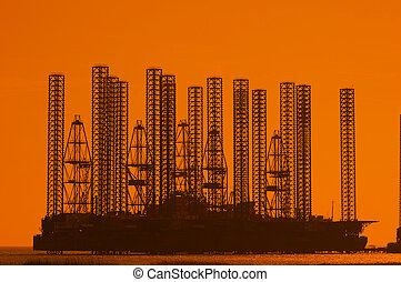 olaj, víz, sekély, napnyugta, közben, ruha, part felől
