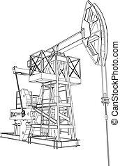 olaj, vakolás, pumpa, vektor, jack., 3