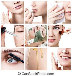 olaj, woman's, nyílvesszö, arc, kozmetikum, emelés