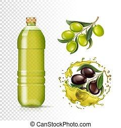olajbogyó, állhatatos, palack, köcsög, gyakorlatias, elszigetelt, olaj, pohár, vektor, fekete, ábra, zöld