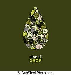 olajbogyó, csepp, olaj