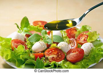 olajbogyó, folyik over, olaj, saláta