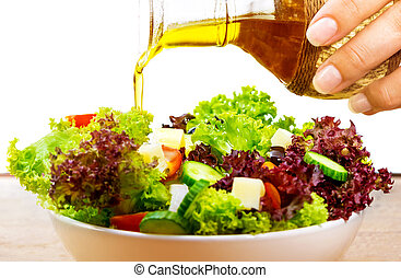 olajbogyó, friss, olaj, saláta