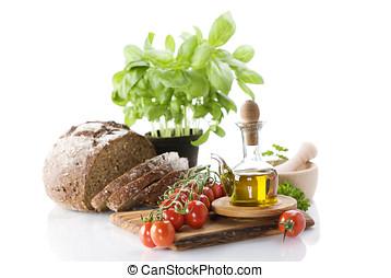 olajbogyó, növényi, olaj, bread, füvek