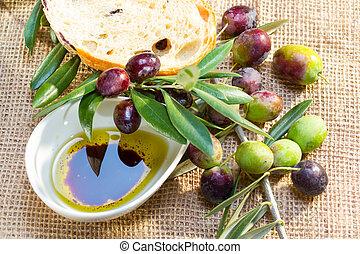 olajbogyó, oil., ciabatta, bread