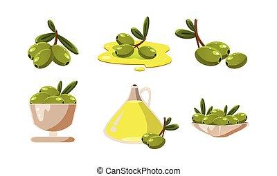 olajbogyó, olaj, szerves, állhatatos, termék, ábra, egészséges, vektor, zöld háttér, friss, fehér