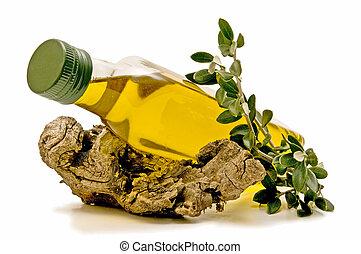 olajbogyó, palack, fekvő, olaj