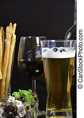 olajbogyó, tál, sör, vörös bor
