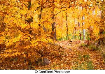 olajfestmény, ősz parkosít, noha, ősz kilépő, alatt, forest.