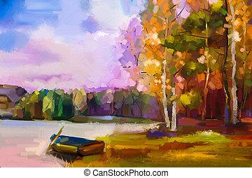 olajfestmény, táj, -, színes, ősz fa