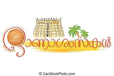 Olakkuda in Happy Onam background - illustration of...