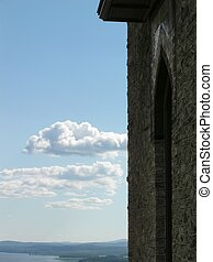 Stone arch overlooking the Hudson River at Olana State Historic Site, NY, USA.