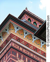 Decorated brickwork and eaves at Olana State Historic Site, NY, USA