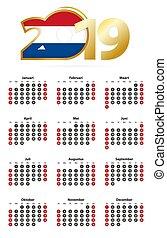 Calendario Con Numero Settimane.2019 Calendario Olandese Domenica Settimana Annuale