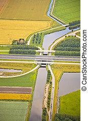 olandese, fattoria, paesaggio, con, infrastruttura, strada,...