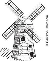 olandese, mulino vento, schizzo
