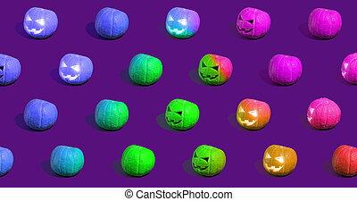 o'lantern, o, gato, calabazas, halloween