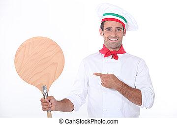 olasz, séf, lényeg at, egy, fából való, pizza lehámlik