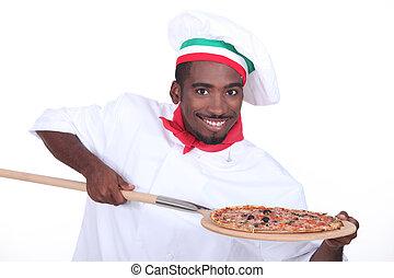 olasz, séf, noha, egy, pizza, képben látható, egy, fából való, hámlik