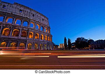olaszország, csillogó nyom, róma, félhomály, kolosszeum