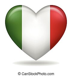 olaszország, elszigetelt, fehér, jelvény, alakít, szív