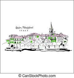 olaszország, maggiore, lago, digitális, freehand, rajz