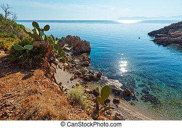 olaszország, sicily, öböl, liget, tenger, zingaro