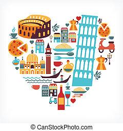 olaszország, szeret, -, szív alakzat, noha, vektor, ikonok