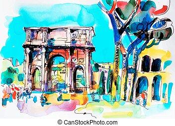 olaszország, utazás, vízfestmény, róma, freehand, eredeti, ...