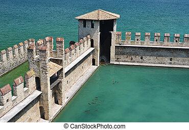 olaszország, város, sirmione, garda, tó, öreg, erőd