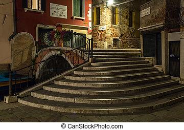 olaszország, velence, -, éjszaka