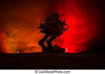 olbrzym, sylwetka, ogień, zbiornik, niebo, robot., tło, czyn, mglisty, futurystyczny
