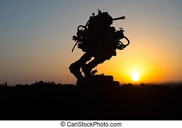 olbrzym, sylwetka, robot., czyn, zbiornik, futurystyczny, sunset.