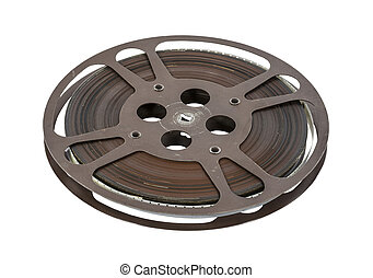 Old 16 mm movie film reel isolated on white.