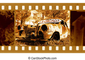 old 35mm frame photo with american retro car in point road 66