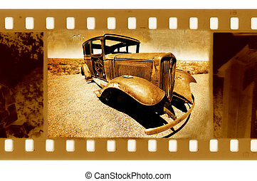 old 35mm frame photo with american retro car in the desert