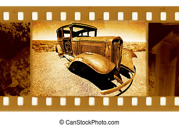 old 35mm frame photo with Ford retro car