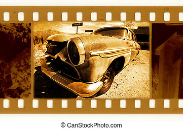 old 35mm frame photo with retro car