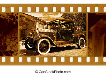 old 35mm frame photo with retro ford car