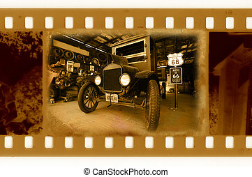 old 35mm frame photo with vintage car in history road 66 - ...