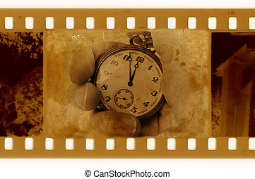 old 35mm frame photo with vintage clock