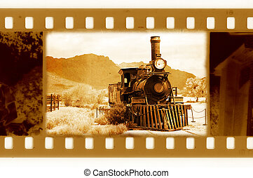 old 35mm frame photo with vintage train