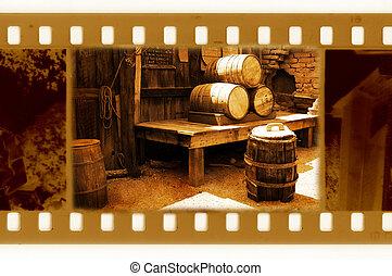 old 35mm frame photo with vintage USA barrels